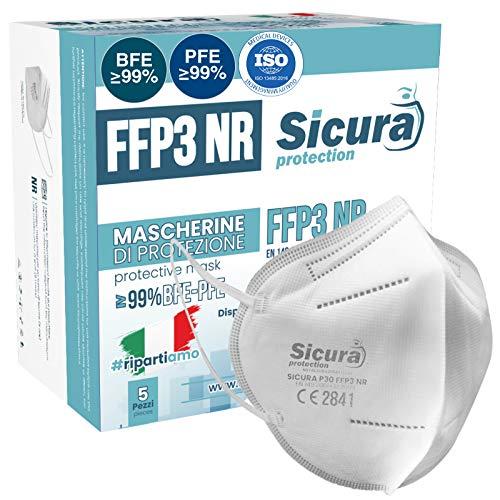 5 Mascherine FFP3 Certificate CE italia Made in Italy BFE ≥99% | PFE ≥99% Mascherina ffp3 SANIFICATA e sigillata singolarmente. Certificata ISO Medical Produzione 100% italiane