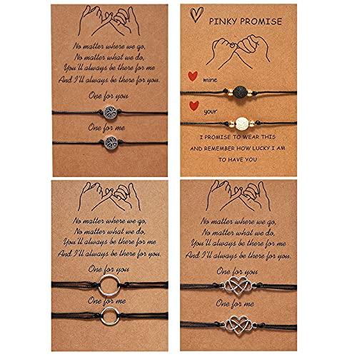4 – 6 pulseras de promesa para madre e hija, conjuntos de pulseras de amistad a juego con distancia ajustable para parejas con tarjeta de corazón (corazón/árbol/círculo/bola)