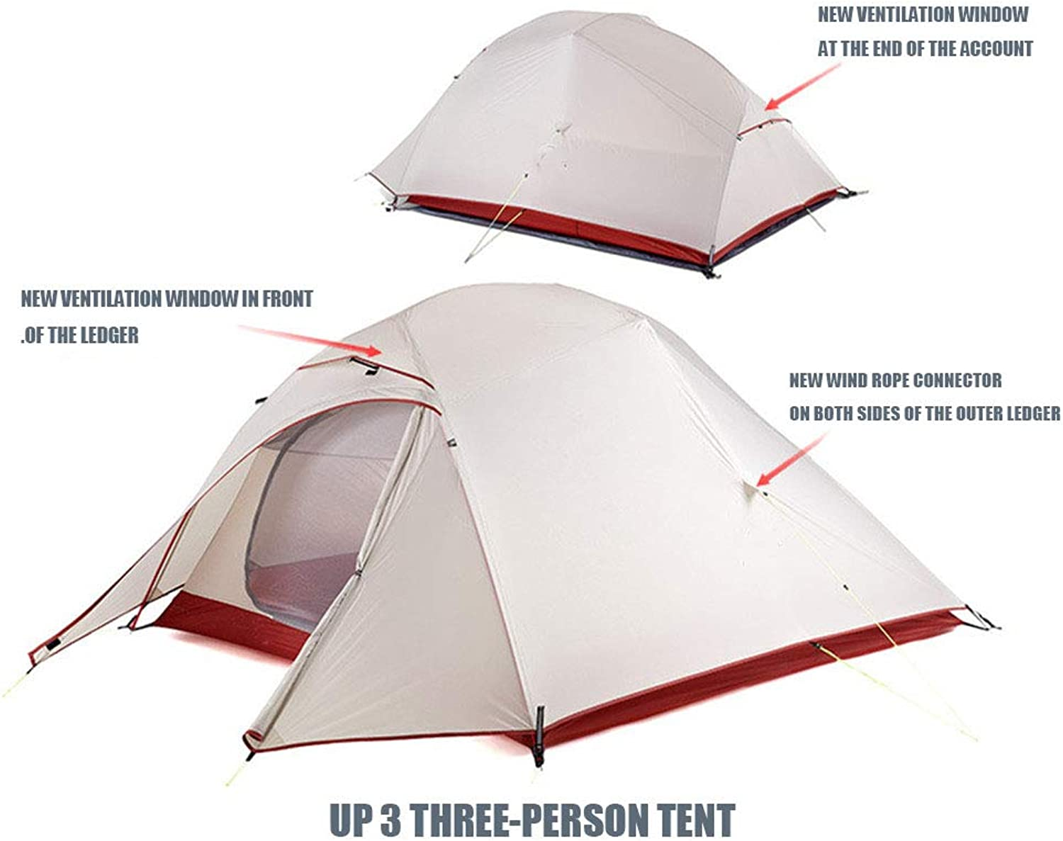 LIUSIYU 4 Season Tent 3 Person Waterproof Windproof Ultralight Camping Breathable Window Outdoor Dome Backpacking Tent