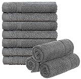 Brandsseller Lot de 10 serviettes de toilette en éponge pour salle de bain ou maison - Environ 30 x 30 cm - 100 % coton - 450 g/m² - Gris clair