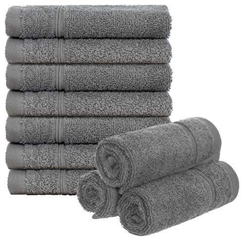 Brandsseller Juego de 10 toallas de baño, 30 x 30 cm, 100% algodón, 470 g/m²