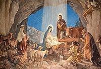 Qinunipoto 2.1m x 1.5mビニール写真背景イエス・キリストの誕生最高の贈り物キリストの誕生背景メアリー・ジョセフ羊カラスイースタークリスマスの装飾肖像画背景写真スタジオ小道具