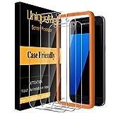 [3 Pack] UniqueMe Protector de Pantalla para Samsung Galaxy S7, Cristal Templado [9H Dureza ] [Sin Burbujas] HD Film Vidrio Templado para Samsung Galaxy S7 con marco de instalación