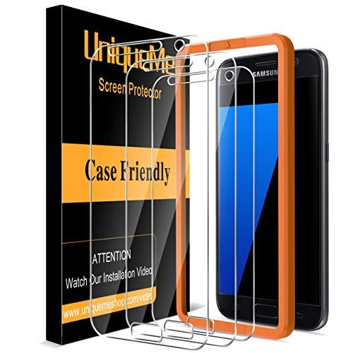 [3 pièces] UniqueMe Verre Trempé compatible avec Samsung Galaxy S7, [9H Dureté][Sans Bulles] Ultra Résistant Film Vitre Protection écran compatible avec Samsung Galaxy S7 avec cadre d'installation