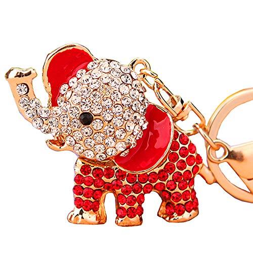 Cute Big Ears Elephant Keychain Sparkling Keyring Crystal Purse Pendant Rhinestones Handbag Charm (Red)