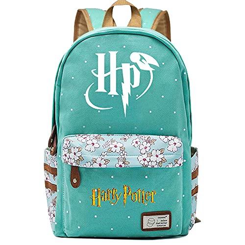 NYLY Mochila Escolar de Flores para niñas Mochilas Informales de Moda/de Compras/de Viaje, Mochila de la Serie Harry Potter (Estilo EV)