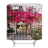 Tong XIN Jardín buganvillas adelfa Flor Rosa Protección de la privacidad, Cortina de Ducha Decorativa con impresión en Color 180X180cm