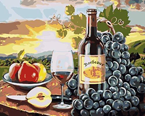 HHHANN Fai-Da-Te Fai-da-Te - Pintura al óleo sobre lienzo DIY, preimpresa, digital, lienzo, pintura al óleo, regalo para adultos, niños, principiantes, 40 x 50 cm, vino de fruta, pintura de número