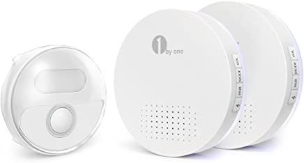 1byone Wireless Doorbell, Portable Round Doorbell Operating at 500 feet, 36 Chimes, 6 Levels Volume and LED Flash Battery-operated 2 Receivers and 1 Push Button, White