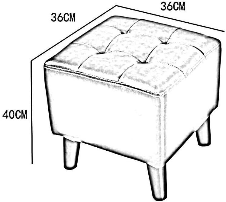 YUMUO Repose-Pieds en Cuir PU, Tabouret carré avec Pieds en Bois pour la Maison Moderne dans la Chambre et Le Salon (Couleur: Blanc crème, Taille: 40cm) 5
