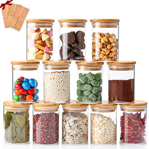 Glass Jars Set of 12, Chrider Spice Glass Jars with Bamboo Wooden Airtight Lids and Labels, Food Storage Containers for Home Kitchen, Tea, Sugar, Salt, Pepper, Spices, Coffee, Flour, Herbs, Grains