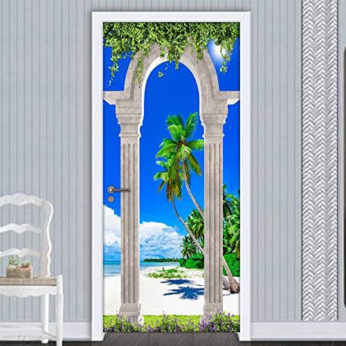 ZOOINB 3D Pegatinas Decorativas De Puerta, Etiqueta De Puerta Removibles Arcos De Columna Romana Playa Vista Al Mar,Mural De Oficina Autoadhesivo Para Puertas Interiores,Decoración De Sala De Estar 86