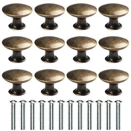 Kyrio - 12 pomelli per cassetti in ottone in stile vintage anticato, diametro da 30 mm, per cassetti di mobiletti da cucina