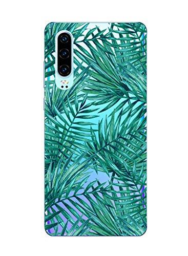 Oihxse Funda Compatible con Huawei P9 Lite 2017, Carcasa Transparente Silicona TPU Suave Protector de Golpes Ultra-Delgado Cristal Cover Anti-Choque Anti-Arañazos Bumper-Hojas 2