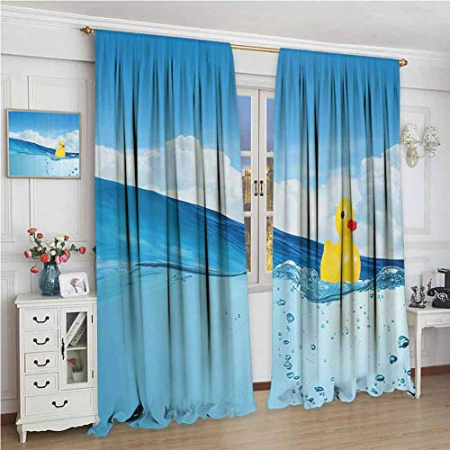 Best Review Of GUUVOR Rubber Duck Blackout Curtain Little Duckling Toy Swimming in Pond Pool Sea Sun...