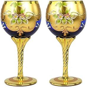 Juego de 2 copas Trefuochi azul - You&Me - Cristal de Murano original