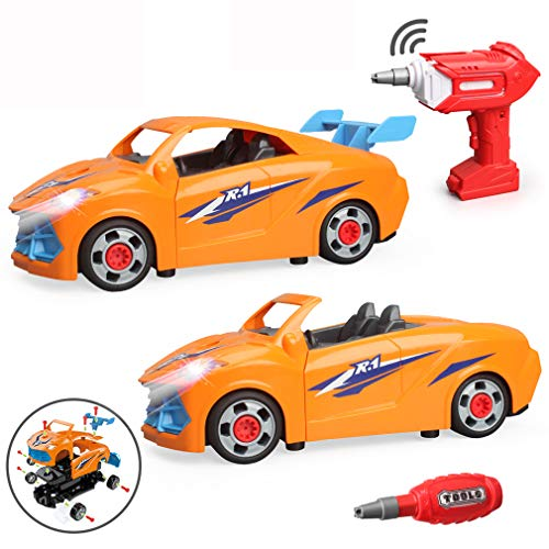 LUKAT Toys for 3 Year Old Boys Girls, Take Apart Toy Remote control Car RC DIY Assembly Vehicle Toy STEM Construction Toy Kit with Drill Tool/Lights, Kids Gift Toy Car for 3 4 5 6 7+ Year Old Boy Girl
