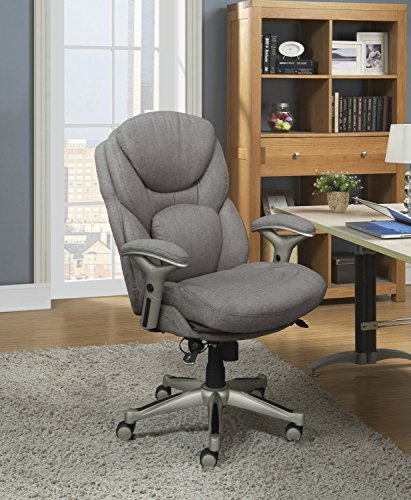 Serta Works Executive Office Chair with Back in Motion Technology, Seamless Light Gray Fabric
