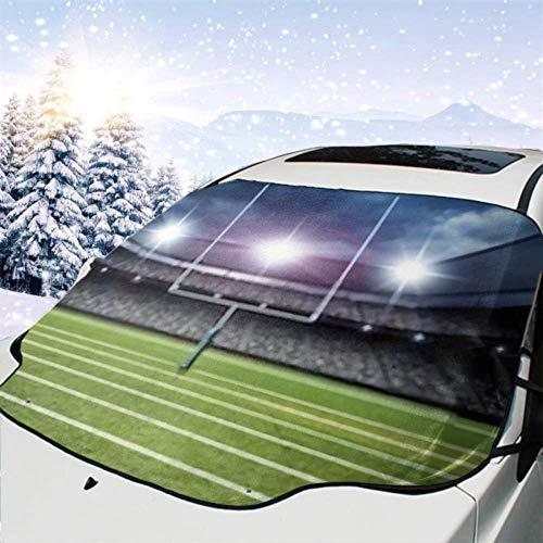 FETEAM Winddichte Windschutzscheibe Schneedecke Auto Sonnenschutz Visier American Football Stadium 3D-Rendering Winter Frostschutz Protector Alle Fahrzeuge