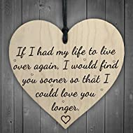 RED OCEAN Love You Longer Wooden Hanging Heart Shaped Plaque Anniversary Shabby Chic Sign