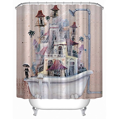 Duschvorhang Cartoon Haus Bathroom Curtain mit 12 Duschvorhangringe anti schimmel wasserdicht