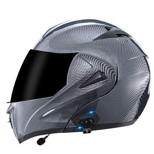 TKTTBD Casco De Moto Modular Bluetooth Integrado con Doble Anti Niebla Visera Cascos De Motocicleta ECE Homologado Auriculares con Dos Bocinas, Contestador Automático con Manos Libres H,M