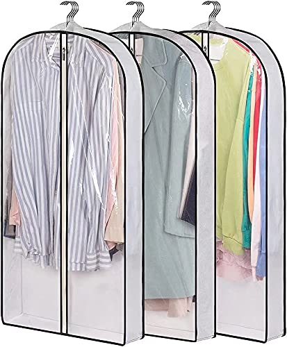 CLOSET STORAGE SUIT 가방에 대 한 AOODA 40 교수형 의류 가방 4 마무리 맑은 옷 덮개 코트 자켓 스웨터 (3 팩)