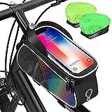 AUTOXEL Bolsas de Bicicleta Impermeable, 7 Pulgadas Bolsa Bicicleta Cuadro, Bolsa Soporte Móvil para Bicicleta, Bolsa Táctil de Tubo Superior Delantero con Orificio para Auriculares para Teléfono