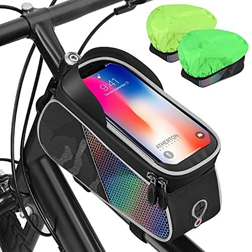 AUTOXEL Borsa Telaio Bici, Borsa Impermeabile da Manubrio Biciclette Porta Telefono MTB, Borsa Bici per Porta Cellulare Touch Screen Visiera Solare Grande Capacità Adatto per Telefoni sotto 7 Pollici