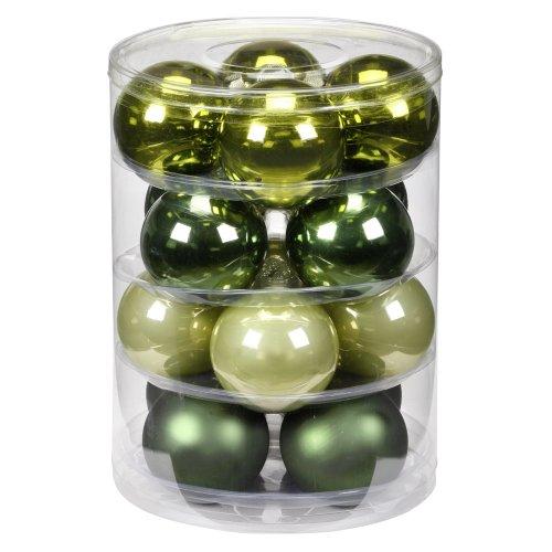 Inge-glas 1782D004 - Tubo da 16 Palle di Natale Miste, 75 mm, Colore: Verde