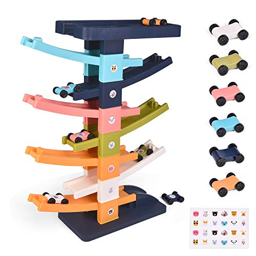 FUN LITTLE TOYS Toddler Race Track Toys, 15.75''Car Ramp Racer with 6 Mini Cars, Car Ramp Toys for Toddlers, First Gifts for Boys