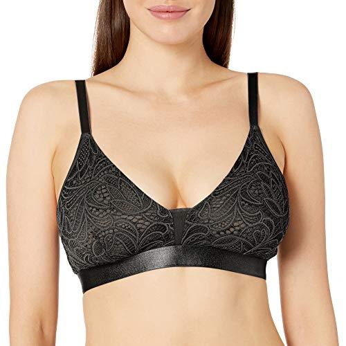 Amazon Brand - Mae Plus Women's Curvy LACE Bralette (FITS D-DD Cup Sizes), black, Large