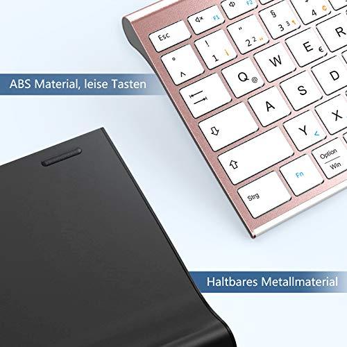 Jelly Comb Kabellose Tastatur mit 3 Bluetooth Kanal, Wiederaufladbare Bluetooth Tastatur, Full-Size QWERTZ Funktastatur für Laptop/PC/iPad/Handy/, Windows/Mac OS/Android, Weiß und Rosa Gold