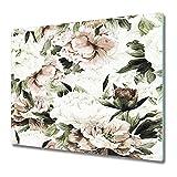 Coloray Tabla De Cortar 80x52cm Cocina Placa De Induccion Vidrio Templado Protector Para Servir Platos - Peonies Blooming Pale Blush Bouquet Floral