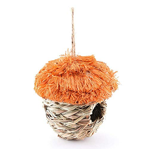 FTFDTMY Bird Nest Hummingbird Bird House for Hanging Outdoor - Bird House for Outside with Hooking and Ropes and Artificial Flowers Set of 2 Orange Wild Bird Classic Nest Box