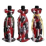 3 bolsas de botella de vino, saxofón de Navidad, para bodas, regalos de fiesta, suministros de Navidad, vacaciones y vino.