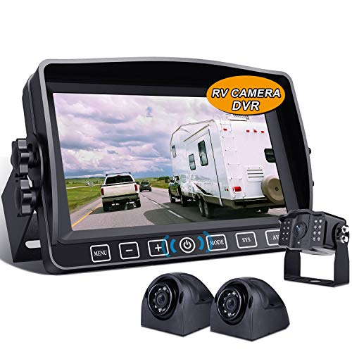 Xroose Backup Camera with 7' Touch Button Monitor W/Upgraded Recorder for RV Semi Box Truck Camper Motorhome 4 Quad DVR Screen 1080P FHD Waterproof IR Rear + Side View Wired Reverse Backing System Y3