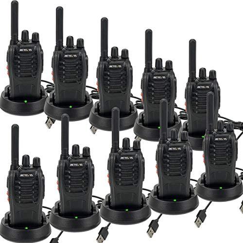 Retevis H777 Plus Funkgeräte Set, PMR446 Lizenzfreies Walkie Talkies,Professionelles USB-Ladegerät Funkgerät, mit LED Squelch Leichtes Handfunkgerät für den Lagertransport Schule(Schwarz, 10 Stück)