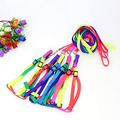 BRAVOSOLEIL Durable Adjustable Soft Polyester Small Pet Rabbit Harness Leash Guinea Pig Lead Rope Yellow for Pets
