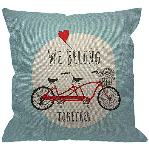 HGOD DESIGNS Love Throw Pillow Cover,We Belong Together Valentine's Day Red Heart Tandem Bike with A Balloon Blue Decorative Pillow Cases Linen Square Cushion Covers for Home Sofa Couch 18x18 inch
