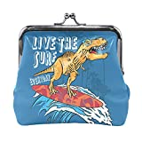 Pochette Sac à Main Dinosaure est à Cheval Pochette de Changement de Planche de Surf pour Femmes avec Fermeture à Verrouillage de Baiser Hommes Pochette pour Femmes Fille 4.5x4.1 Pouces