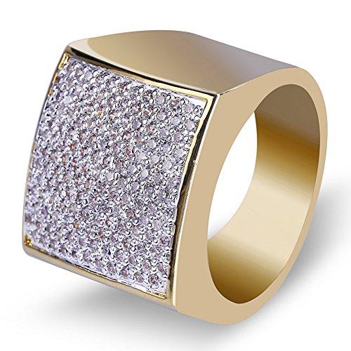 Moca Jewelry Iced Out - Anillo cuadrado de moda chapado en oro de 18 quilates con diamantes de imitación de circonita cúbica para hombres y mujeres