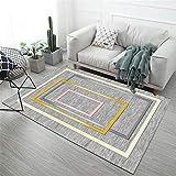 Alfombras alfombras para la Cocina Fácil Limpio Gris Amarillo diseño geométrico Duradero Puede ser Lavado alfombras recibidor alfombras oficinas 160X230CM