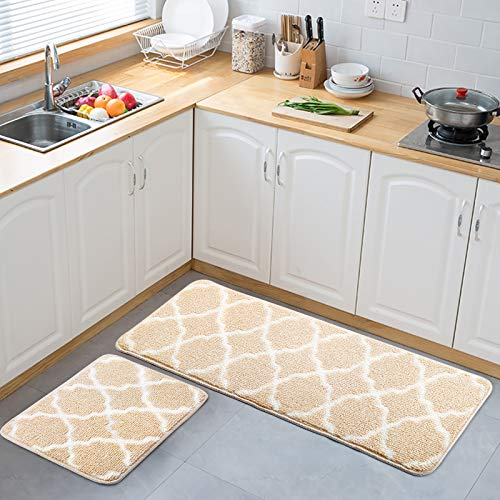 "Delxo Kitchen Rugs and Mats Set,2 Pcs Super Absorbent Non Skid Washable Kitchen Floor Mat,Beige Carpet for Kitchen, Bathroom, Sink,Laundry,Mud 17""x24""+17""x48"""