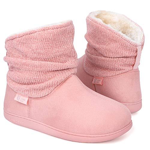 LongBay Women's Warm Chenille Knit Bootie Slippers Memory Foam Comfy Suede Fluffy Faux Fur Memory Foam Boots House Shoes (Medium / 7-8, Pink)