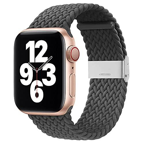 Firsteit Compatible con Apple Watch Trenzado Solo Loop Band 44mm 42mm Correa tejida ajustable elástica con cierre de acero inoxidable para iWatch Series 6/5/4/3/2/1/SE (42mm/44mm, gris)