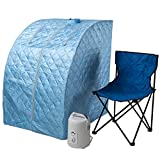 Durasage Lightweight Portable Personal Steam Sauna Spa for Weight Loss, Detox, Relaxation at Home, 60 Minute Timer, 800 Watt Steam Generator, Chair Included (Light Blue)