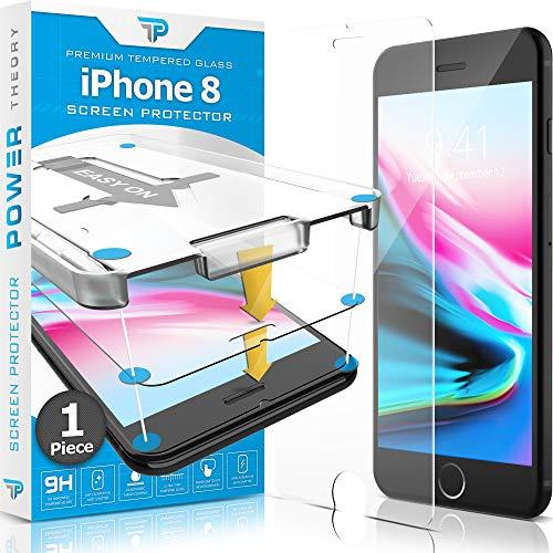 Power Theory Panzerglas kompatibel mit iPhone 8 - Schutzfolie mit Schablone, Panzerglasfolie, Panzerfolie, Glas Folie, Displayschutzfolie, Schutzglas