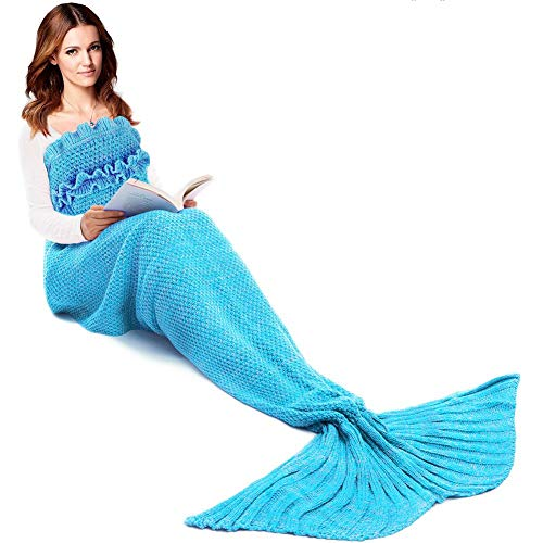 JR.WHITE Mermaid Tail Blanket for Kids,...