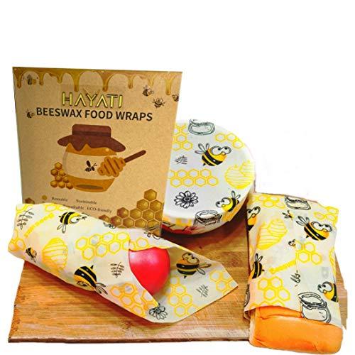 Hayati Premium Bienenwachs Papier Bienenwachstücher 3er Set Plastikfreie Produkte Bee Wax Bienenwachstücher Bio geschenke für vegane ökologische geschenke